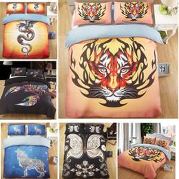 2019 3d fall tiger 3D Bunte Skorpion Tiger Dragon Wolf Bettwäsche Set Bettdecke Steppdecke Kissenbezug günstig 3d fall tiger