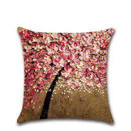 Funda de cojín Árbol Impreso Cuadrado Algodón Lino Funda de almohada transpirable Árboles Cojines para sala de estar desde fabricantes