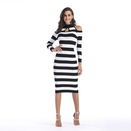 8e3684e91bc2 black white striped off shoulder dress Promo Codes - Black And White  Striped Dress Strap Woman