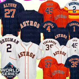 Camisa 45 on-line-Houston 27 Jose Altuve 2 Alex Bregman Astros Jersey 45 Gerrit Cole 35 Justin Verlander 4 George Springer 1 Carlos Correa Nolan Ryan Jerseys