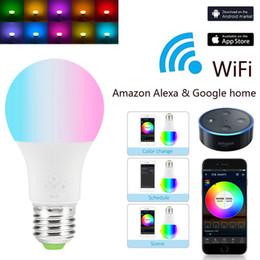 padrões de iluminação exterior Desconto Novo E27 WiFi Lâmpada Inteligente, Regulável, Multicolor, Luzes de Despertar, Lâmpada LED RGBWW, Compatível com Alexa e Assistente do Google BTZ1