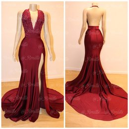 dc16040f01ec0 2019 Sexy Maroon Prom Evening Dress Vintage Backless Appliqued Formal Party  Gown High Slit Plus Size Pageant Drseses Custom Made