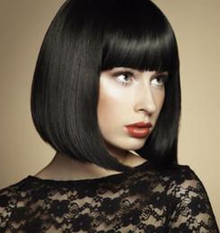 2019 perruque noire et blanche Perruques synthétiques noir blanc cheveux courts perruque Bob wave headgear Perruque femme naturelle aux cheveux courts pour dame FZP177