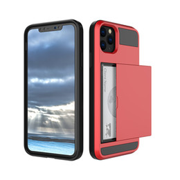 plastic slides Promo Codes - Slide Card Holder Hybrid Cell Phone Cases For Iphone 11 Pro Max Samsung Galaxy Note 10 Plus S10 J6 J7 Hard Mobile Case