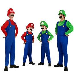 fantasias super elásticas Desconto Super Mary Mario Traje Da Família Trajes de Halloween para Adultos e Crianças Partido Cosplay Carnaval Fantasia Vestuário Meninos Meninas uniformes