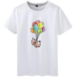 Воздушные шары с животными онлайн-Футболка Flight Balloon с коротким рукавом с короткими рукавами Fly Animal от Pilling Tops Одежда с неувядающим принтом Чистый цвет, цветостойкая модальная футболка
