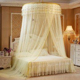 2019 ropa de cama princesa moderna Lujo romántico Hung Dome Mosquito Net Princesa Estudiantes Insecto cama Pabellón de malla Redonda de encaje Mosquiteros Redondas Cortina Para ropa de cama