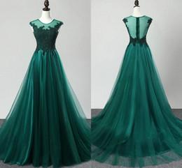 vestido verde esmeralda imperio Rebajas Emerald Green Empire cintura noche vestidos formales baratos 2019 encaje Sheer escote tapa de manga ocasión especial vestido mujeres vestidos de baile Vestido