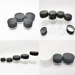 Riciclare gli adesivi online-Vaso di vetro vaso cosmetico di vetro trasparente con tappo a prova di bambino nero adesivi Label OEM ermetico svuotare 3ml 5ml 7ml 9 ml riciclato Food Packaging