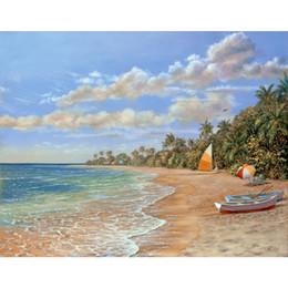 Dipinti da sogno online-arte murale per ufficio Dream Beach paesaggi mediterranei olio Dipinti dipinti a mano