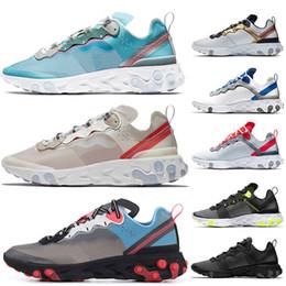 43fa8161cfc7c nike Epic React Element 87 chaussures de course pour homme femme blanc noir  NEPTUNE GREEN bleu mens formateur designer respirant sport baskets taille  36-45 ...