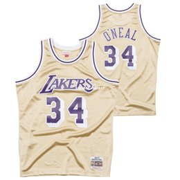 Canada Haut cousu Shaquille O Neal # 34 rétro 1997 or jersey mens chandail MITCHELL ET NESS rétro taille XS-6XL maillots de basketball cheap basketball size 4xl Offre