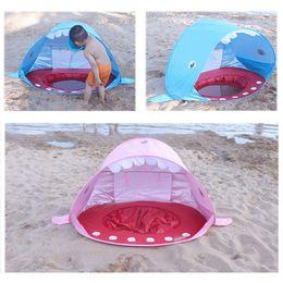 carpas con forma Rebajas Shark Shape Baby Beach Carpa Pop Up con Piscina Protección UV Dosel Refugio al aire libre Camping Carpas de sombrillas para niños MMA2032