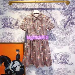 Mulheres Elefante Imprimir Camisa Xadrez Vestidos de Lapela No Pescoço Bolso Tops T-shirt de Manga Curta T-shirt Meninas High-End Personalizado Casual Blusa Vintage Vestido de