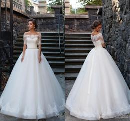 Nouveau style de jardin une ligne robes de mariée Vesitos De Novia épaules dénudées manches demi bouton dos longues robes de mariée avec bouton au dos ? partir de fabricateur