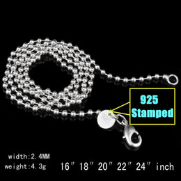 2021 colar de bola esterlina 925 2.4mm 925 Sterling Silver Beads Chain Ball Women Jewelry DIY Making Fashion Mens Lobster Clasp Chain Necklaces Gifts 16 18 20-22-24 Inches