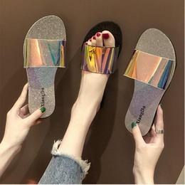 2019 lacets en laine de lavande Nouveau Brillant Femmes Mode Sandales Chaussures Glisser Été Antidérapant Large Plat Sandales Glissantes Slipper Flip Flop En Stock Accessoires Pour La Maison