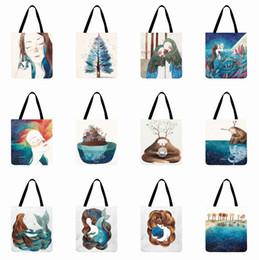 2019 tessuti di lino Borsa a tracolla da donna Borsa in tessuto di lino Cartone animato Pittura Stampata Tote Spiaggia all'aperto Shopping riutilizzabile Mano quotidiana sconti tessuti di lino