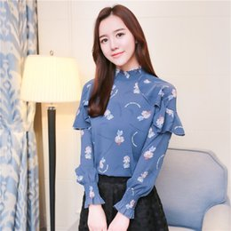 d663e90a8a0f Discount woman korean clothing style - Spring New Floral Print Loose  Chiffon T Shirt Casual Korean