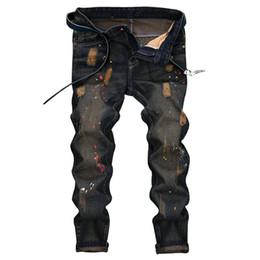 2019 denim scuro denim uomini Moda uomo Jeans attillati Jeans attillati strappati strappati Fori distrutti Pantaloni slim firmati
