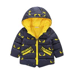 2018 Moda Sonbahar Kış Çocuk Kapüşonlular bebek Boys Coatjacket Çocuk Uzun Kollu giyim Bebek ılık Dış Giyim 2 3 4 5 6 yıl nereden