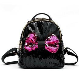 Zaino da zaino per le donne rosa online-Il nuovo modo delle ragazze delle donne paillettes Bowknot zaino da viaggio mini Bowknot Borsa Paillettes Zaino Zaini Nero Rosa Blu