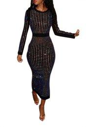 Длинное черное платье онлайн-Женская Вечеринка Горячее Бурение Bling Длинное Рукавное Платье Рабочий Офис Вечернее Платье С Теленком Черный Vent Vestidos Повседневное Платье NB-891