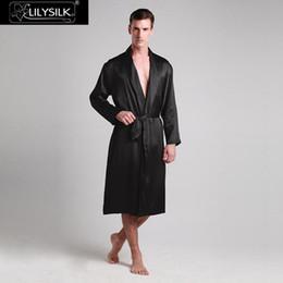 bata de seda de hombre Rebajas LilySilk Robe Kimono Ropa de dormir Baño Bata larga para hombre Pure 100 Silk 22 momme Lujo Natural Liquidación Venta Envío gratis
