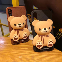 2019 cassa del telefono orso marrone 3D Cartoon Orso bruno Cute Cartoon morbido silicone per iPhone 6 6s Plus 7 8 Plus X 5 coperture shell cassa del telefono orso marrone economici