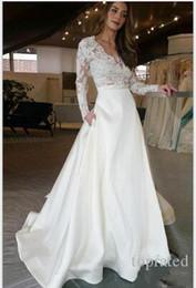 jupe mariée Promotion Sexy manches longues robe de mariée en dentelle appliques col v une ligne Top robe de mariée en satin jupe avec poche robes de mariée robes de noiva