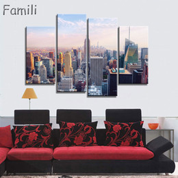 pintura nova york Desconto 4 pcs Pantings On The Wall Art Pintura Da Lona New York City Parede Pictures Para Sala Cuadros Decoração Home Decor No Frame