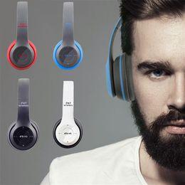 Микрофон для беспроводных микрофонов онлайн-Беспроводные наушники P47 Bluetooth Over Ear Складная гарнитура с микрофоном Стерео наушники 3,5 мм Поддержка аудио FM-радио TF для ПК ТВ Smart