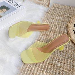 sexy tacones abiertos de plata Rebajas Sandalias transparentes Zapatillas de tacón alto para mujer Sandalias de mujer para mujer 2019 Verano Nuevo Soft Soft Silver Open Toes Shoe