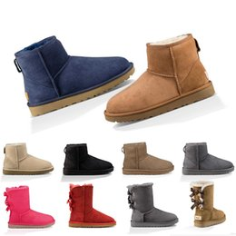 2019 mens mid calf zip boots UGG Boots cheap designer women boots Australia classic winter snow boot girl ankle half bow fur black chestnut navy pink red size 36-41 free shipping