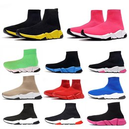 2019 vestir zapatos de ballet 2020 zapatos calcetín Triple Beige Negro Blanco S para hombre de las zapatillas de deporte de la vendimia de la plataforma del brillo de las mujeres Speed Trainer Runner Botas Casual