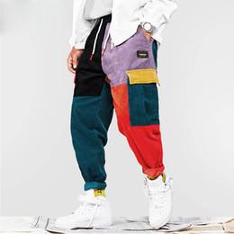 Kardiert hosen online-2019 Hip Hip Pants Vintage Farbblock Patchwork Corduroy Cargo Harem Hose Streetwear Harajuku Jogger Sweatpant Baumwollhose