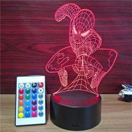 luzes noturnas por atacado de elefantes Desconto Spiderman moldar Night Light visão estéreo lâmpada LED 3D lâmpada colorido gradiente de controle colorido lâmpada acrílico remoto