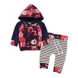 Kleinkindmädchen hoodie passt online-Ins baby trainingsanzug neugeborenen trainingsanzug floral Hoodies + Pluderhosen baby kleidung Infant Outfits babykleidung kleinkind mädchen kleidung A5572