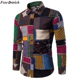 Рубашки для мужчин бесплатно онлайн-FREE OSTRICH Фольклор на заказ Рубашки для мужчин Урожай шерстяной досуг Pattern повседневная рубашка Плюс размер Streetwear Сорочка Homme фланелевая