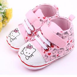 2020 pattini del gattino di ciao dei bambini Carino Ciao Kitty Baby Girl Scarpe princess bambino Primi camminatori dei capretti di marca dei pattini casuali per la ragazza delicatamente solo scarpe da tennis Taglia 0-18M sconti pattini del gattino di ciao dei bambini