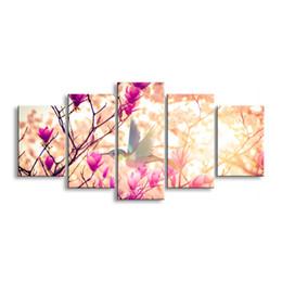5 pièces haute définition impression rose fleurs toile affiche peinture à l'huile et mur art salon image PF5-003A ? partir de fabricateur