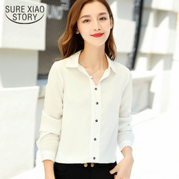 2019 рабочая одежда для женщин Chiffon women blouses 2019 spring new fashion Lady Office work clothing white turn down collar Professional women tops 2433 50 дешево рабочая одежда для женщин