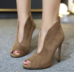 Обувь глубокий онлайн-2019 новинка женщины замшевые туфли на высоком каблуке сексуальные ботильоны с открытым носком надевают глубокий V вырез на высоком каблуке леди осенняя обувь