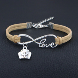 cap silver chain Promo Codes - Silver Infinity Love Doctor Medicine Box Nurse Cap Bangles Beige Leather Suede Charm Bracelets for Women Men Girl Jewelry Accessories Gifts