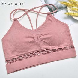 cc2b29480675c Padded Out Shockproof Hollow Crop New Free Women Bra Casual Wire Running  Solid Yoga Elastic Soft Sports Tops Seamless