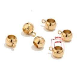 Pulseras europeas de acero inoxidable. online-Conectores de color dorado de acero inoxidable Beads Beads fit European Charm Bracelet Bragas 8mm / 6mm