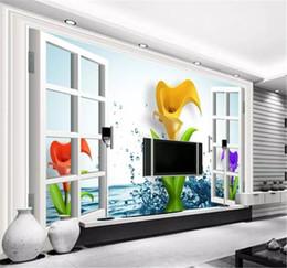 Крытые обои онлайн-Обои 3D Окна Воды Dreamy Calla Lily Wallpaper 3d на стене Крытый ТВ Фоне Украшения Стены Обои