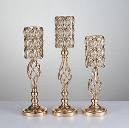 Vasi placcati online-2020 Wedding props candelabra gold metel plated flower vase ware stage background creative home European furnishings wedding decorations