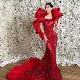 Argentina Vestido de noche Yousef aljasmi Kim kardashian Manga larga Un hombro Vestido con cristales de volantes rojos Sirena Zuhair murad Ziadnakad 0012 Suministro