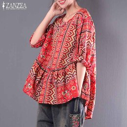 ae60033f309 vintage tunic tops Coupons - Plus Size Women's Print Blouse ZANZEA 2019  Boho Top Female Lantern